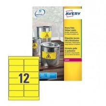 Poliestere Adesivo L6107 Giallo Fluo 20Fg A4 99,1X42,3Mm (12Et/Fg) Laser Avery