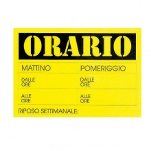 CARTELLO IN CARTONCINO 'ORARIO dalle..alle..' 23x32cm CWR 315/13 (conf. 10 )