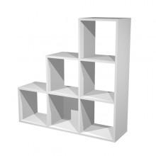 Libreria 6 Caselle A Scalare 104X29,2Cm-H103,9Cm Grigio Alluminio - Rainbow