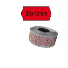 Pack 10 Rotoli 1000 Etich. 26X12Mm Onda Rosso Perm. Printex