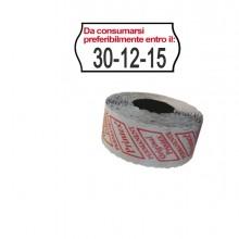 "Pack 10 Rotoli 1000 Etich. 26X12Mm Onda ""Da Consumarsi..."" Bianco Perm. Printex"