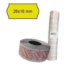 Pack 10 Rotoli 1000 Etich. 26X16Mm Onda Giallo Perm. Printex