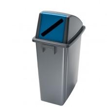 Contenitore Office 60Lt + Coperchio Blu Con Feritoia Per Carta