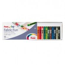 Astuccio 15 Pastelli Per Tessuto Fabric Fun Pentel