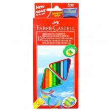 Astuccio 12 Pastelli Colorati Triangolari Eco + Temperino Faber Castell