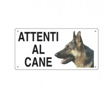 Cartello Alluminio 25X12,5Cm 'Attenti Al Cane''