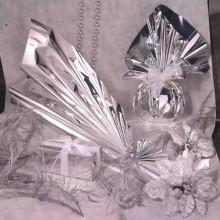 50 Buste Regalo In Ppl Metal Lucido 25X40+5Cm Argento Con Patella Adesiva