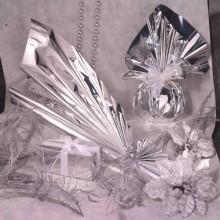 50 Buste Regalo In Ppl Metal Lucido 35X50+5Cm Argento Con Patella Adesiva