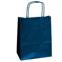 25 SHOPPERS CARTA KRAFT 18x8x24CM TWISTED BLU