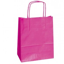25 SHOPPERS CARTA KRAFT 18x8x24CM TWISTED MAGENTA