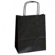 25 SHOPPERS CARTA KRAFT 18x8x24CM TWISTED NERO